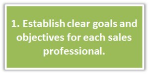 1. Establish clear goals and objectives for each sales professional.